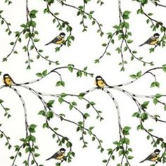 The Arvidssons Glantan fabric features stunning Yellow Birds nestling in the Birch Trees