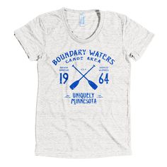 Minnesota's Boundary Waters Canoe Area Wilderness (BWCAW) was established in 1964. Our vintage, sport-inspired BWCAW Series, American Apparel tri-blend women's t-shirt harkens back to the time residents had foresight to protect this beloved region known for adventure, solitude and beauty.