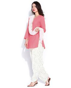 """http://www.istyle99.com/Salwar-Suit/Pink-Semi-Stitched-Patiyala-Salwar-Kameez-6538.html Pink Semi Stitched Patiyala Salwar Kameez @ Rs858.00 Top Colour: Pink Bottom Colour: White Dupatta Colour: White Top Fabric: Chanderi Cotton Bottom Fabric: Brasso Dupatta Fabric: Brasso Inner:Santoon Work Type: Lace, Pipping Work Top Length:46"""" Customized upto Size:42"""" Style Type: Patiyala"""