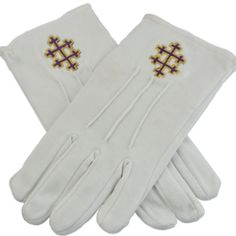 33rd Degree Patriarchal Cross White Purple & Gold Hand Embroidered