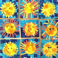 Happy kindergarten Suns to brighten your day! Tissue paper and construction paper. Kindergarten Art Lessons, Art Lessons Elementary, Kindergarten Crafts Summer, Spring Art Projects, School Art Projects, Sun Crafts, Summer Crafts, Paper Crafts, Arte Elemental
