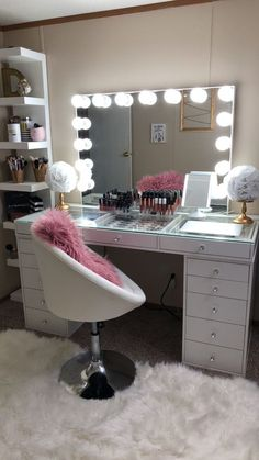vanity SlayStation® Pro Tabletop + Vanity Mirror + 5 Drawer Units Bundle (Pre-order Bright White Now. Expected ship date: June - Impressions Vanity Co. Bedroom Decor For Teen Girls, Girl Bedroom Designs, Teen Room Decor, Room Ideas Bedroom, Bedroom Ideas For Teens, Room Ideas For Girls, Girly Bedroom Decor, Cool Room Decor, Bedroom Small