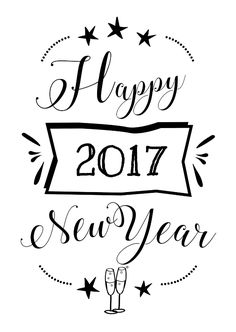 Nieuwjaarskaart met pentekening happy new year 2017 en champagne glazen, verkrijgbaar bij #kaartje2go voor € 1,89