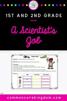 A fun printable and digital unit teaching 1st and 2nd grade students all about science and the scientific method. Includes vocabulary cards, mini book, flip book activity, labs, and quiz. Science Tools, Science Lessons, Elementary Science, Elementary Teacher, Book Of Job, Job 1, Color Swirl, Vocabulary Cards, Scientific Method