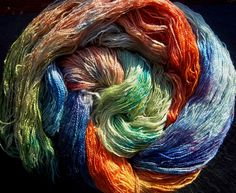 Yarn BFL/ Tussah Silk Lace 2ply Hand Dyed Elvincraft s Spring Dream Imbolc