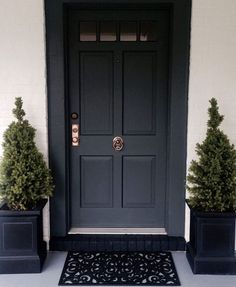 Front Doors : Inspirations Farrow And Ball Front Door 94 Farrow And Ball Hague Blue Front Door Front Door Painted In Gorgeous Farrow And Ball Front Door. Farrow And Ball Front Door Green. Farrow And Ball Studio Green Front Door. Farrow And Ball Front Door Front Door Entrance, Exterior Front Doors, House Front Door, Front Door Colors, Front Door Decor, Front Entry, Front Door Planters, Black Planters, Front Door Design