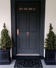 Front Door Entrance, Exterior Front Doors, House Front Door, Front Door Colors, Front Door Decor, Entry Doors, Front Entry, Farrow And Ball Front Door Colours, Front Door Plants