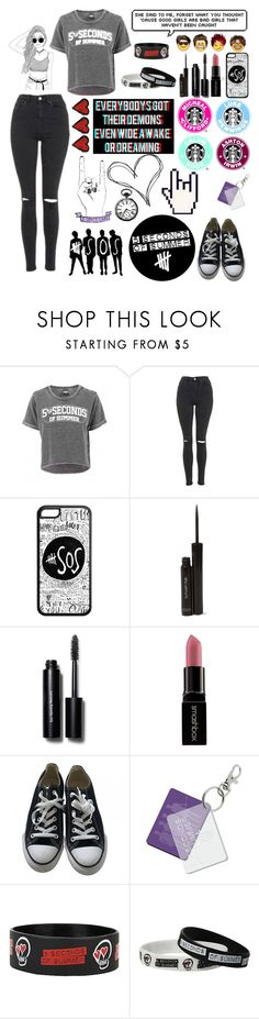 """5sos Concert "" by janie2022 ❤ liked on Polyvore featuring Topshop, shu uemura, Bobbi Brown Cosmetics, Smashbox, Converse and Sephora Collection"