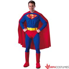 Superman Deluxe Adult Costume - This deluxe costume includes: Red and blue muscle chest jumpsuit with attached boot tops, belt and cape. This is an officially licensed SUPERMAN(™) costume, © DC Comics. Villain Costumes, Cartoon Costumes, Movie Costumes, Adult Costumes, Halloween Costumes, Dance Costumes, Superman Logo, Superhero Superman, Man Of Steel
