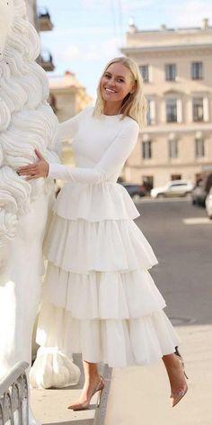 Burgundy Long Sleeves Prom Dress with Layered Skirt de bal longues Tea Length Wedding Dress, Tea Length Dresses, Wedding Gowns, White Tea Length Dress, Long Wedding Dresses, White Dress, Prom Dresses Long With Sleeves, Modest Dresses, Formal Dresses