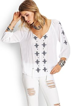 Embroidered Peasant Top | FOREVER21 - 2000059288
