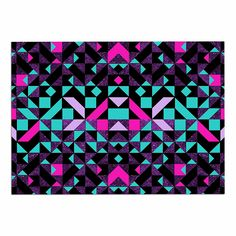 KESS InHouse Vasare Nar 'Geometric Galaxy' Magenta Digital Dog Place Mat, 13' x 18' ** Remarkable product available now.