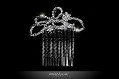 Bridal Hair Comb Swarovski Crystal Vintage Bow by BelovedSparkles