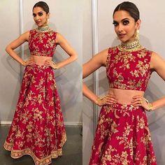 Deepika Padukone wore an embellished crop top with lehenga for IIFA Awards Show 2016.