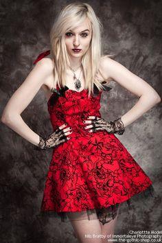 Red Flocked Halter Mini Dress