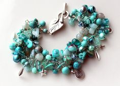 turquoise bracelet beaded fringe bracelet teal by UniqueNecks, $58.00