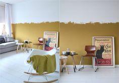 halbhoch gestrichene Wand mit Goldocker Farbe