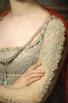 Detail of pearls and gown