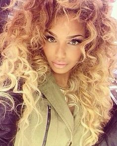 Curly blonde ombre hair