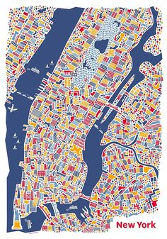 Hang this beautiful poster on your wall. Click on the picture to buy. New York City #Map by Vianina #poster [affiliate-link]