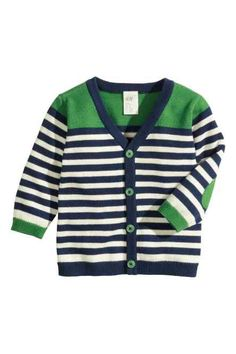 Shop kids clothing and baby clothes at H&M – We offer a wide selection of children's clothing at the best price. Baby Cardigan, Cardigan Bebe, Cotton Cardigan, Striped Cardigan, Kids Knitting Patterns, Knitting For Kids, Baby Knitting, Knit Baby Sweaters, Boys Sweaters