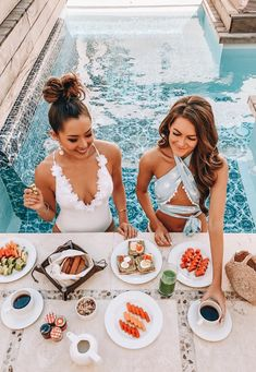 beautiful poolside breakfast feast