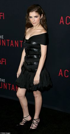 Gorgeous: Anna Kendrick wore a sexy black dress with leather straps to the premiere of her...