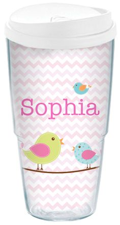 Do you know someone who would like this personalized Little Birds Acrylic Travel Cup? She'll love the pink chevron pattern, the adorable singing chicks, and her name printed...so pretty!