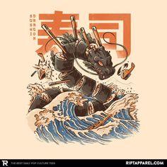 Fashion Spotlight: Great Ramen Wave, Great Sushi Dragon, Miyazaki's ark - Graphic Policy L'art Du Sushi, Sushi Art, Sushi Food, Japan Illustration, Arte Copic, Arte Do Kawaii, Drawn Art, Art Asiatique, Art Japonais
