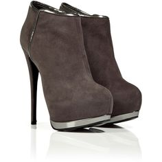 GIUSEPPE ZANOTTI Pale Plum Suede Platform Booties ❤ liked on Polyvore