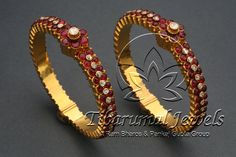 Good Screen Bridal Jewellery ruby Tips Via wedding rings along with necklaces to earrings along with jewellery, this is the couple of pimpl Aquamarine Jewelry, Ruby Jewelry, Bridal Jewelry, Gold Jewelry, Gold Bangles Design, Gold Jewellery Design, Antique Jewellery, Ruby Bangles, Bangle Bracelets