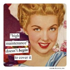 high maintenance doesnt even begin to cover it Vintage retro funny quote
