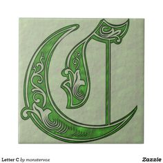 Letter C Tile #Alphabet #Letter #Embossed #Art #Celtic #Fashion #Home #Decor #Ceramic #Tile