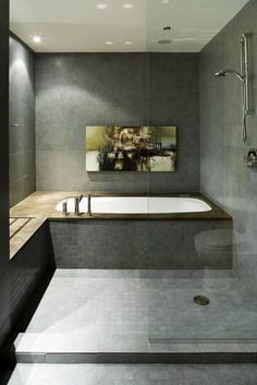 Bath tub in shower area