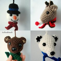 Set of Four Christmas Ornament PATTERNS  Snowman, Rudolph, Brown Bear, Polar Bear by lostsentiments