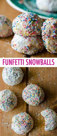 Buttery, melt-in-your-mouth shortbread cookies filled with colorful sprinkles and rolled in powdered sugar. Drop Sugar Cookies, Peanut Butter Cookies, Chip Cookies, Oatmeal Cookies, Chocolate Cookies, Christmas Cookies, Christmas Decor, Cookie Recipes, Dessert Recipes