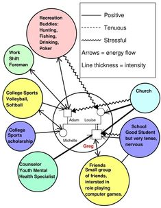Ecomaps: Graphic representation of the systems that are part of someone's life, including the flow of energy