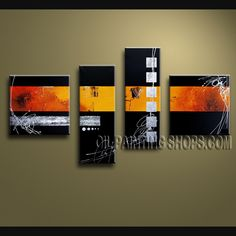 Enchant Modern Abstract Painting Hand Painted Oil Painting Stretched Ready To Hang Abstract. This 4 panels canvas wall art is hand painted by V.Chua, instock - $136. To see more, visit OilPaintingShops.com