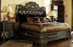 High end master bedroom set Carvings and tufted Live like a King, luxury furnishings for castles to cottages Bernadette Livingston Furniture.