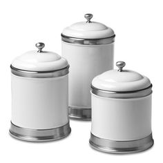 Williams Ceramic Canisters - traditional - food containers and storage - Williams-Sonoma Ceramic Canister Set, Canister Sets, Dog Treat Container, Kitchen Words, Kitchen Stuff, Kitchen Gadgets, Kitchen Things, Classic White Kitchen, Timeless Kitchen