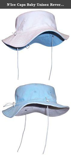 "N'Ice Caps Baby Unisex Reversible and Adjustable Cotton Twill Aussie Sun Hat (50cm (19.7"") 6-18mos, Light Blue/White). Sun Caps by N'Ice Caps unisex baby reversible cotton twill Aussie style hat with adjustable draw cord in back to allow hat to fit 3 size ranges. Easy to adjust elastic shoe string tie draw cord with lock adjusts up and down to fit 3 size ranges within the recommended age group. Elastic shoe string ties are also adjustable. Great hat for sun protection. Easy to pack. Great..."