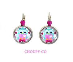 Boucles d'oreilles cabochon enfant * hibou chouette * bleu coeur argenté perles bijou fantaisie : Bijoux enfants par choupy-co