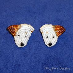 Beaded JACK RUSSELL TERRIER sterling silver post by thelonebeader, $95.00