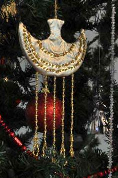 Golden Bangle with Sequins, Christmas Tree Ornament