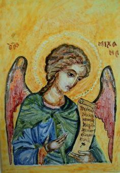 Icona in ceramica dipinta a mano sù pannello in legno.S.Michele Arcangelo