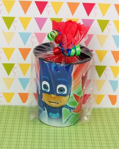 PJ Masks Pre Filled Party Favor Goodie Bag - Kids Birthday Supplies - Character Cup Party Favors - PJ Masks Party Favors for Kids EACH OF OUR GOODIE BAG INCLUDES: (we are able to make candy substitutions for any kids who have allergies) • 1- 16oz Keepsake Plastic Character Favor