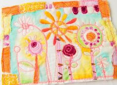 Sketch Doodle Stitch - Cynthia Shaffer - Tutorial on how to make this lovely fabric art piece with free motion stitching, painting and embroidery.