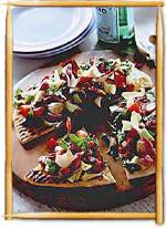 Flatbread with Salad.if you like salad and pizza, why not try a Flatbread Salad Easter Dinner Recipes, Healthy Dinner Recipes, Holiday Recipes, Meatless Recipes, Healthy Food, Ww Recipes, Salad Recipes, Free Recipes, Pizza Recipes