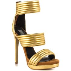 Mia Limited Edition Women's Kiara - GLD Gold Leather (€105) ❤ liked on Polyvore featuring shoes, sandals, heels, gold high heel sandals, strappy sandals, strappy heeled sandals, gold strap sandals and gold leather sandals