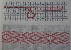 INCRETURI - punctul banatean in linie orizontala Folk Embroidery, Embroidery Stitches, Drawn Thread, Bargello, Brick Stitch, Blackwork, Needlepoint, Smocking, Knitting Patterns